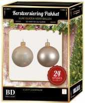 24 stuks glazen kerstballen pakket licht champagne 6 cm trend
