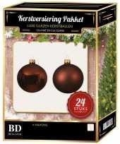 24 stuks glazen kerstballen pakket mahonie bruin 6 cm trend