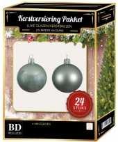 24 stuks glazen kerstballen pakket mintgroen 6 cm trend