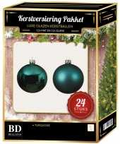 24 stuks glazen kerstballen pakket turquoise blauw 6 cm trend