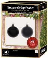 24 stuks glazen kerstballen pakket zwart 6 cm trend