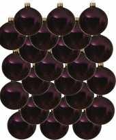 24x aubergine paarse glazen kerstballen 6 cm glans trend