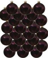 24x aubergine paarse glazen kerstballen 8 cm glans trend