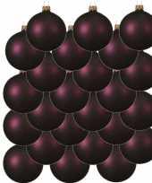 24x aubergine paarse glazen kerstballen 8 cm mat trend