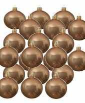 24x donker parel champagne glazen kerstballen 6 cm glans trend