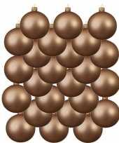 24x donker parel champagne glazen kerstballen 6 cm mat trend
