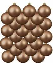 24x donker parel champagne glazen kerstballen 8 cm mat trend