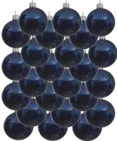 24x donkerblauwe glazen kerstballen 6 cm glans trend