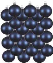 24x donkerblauwe glazen kerstballen 6 cm mat trend