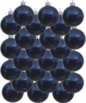 24x donkerblauwe glazen kerstballen 8 cm glans trend