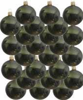 24x donkergroene glazen kerstballen 6 cm glans trend