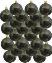 24x donkergroene glazen kerstballen 8 cm glans trend