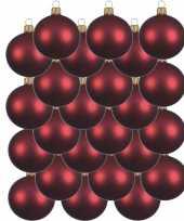 24x donkerrode glazen kerstballen 6 cm mat trend