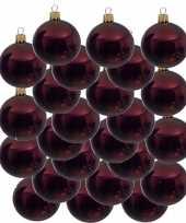 24x donkerrode glazen kerstballen 8 cm glans trend