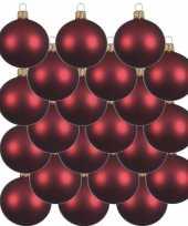 24x donkerrode glazen kerstballen 8 cm mat trend