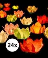24x drijvende kaarsen lantaarns bloemen 29 cm gekleurd papier trend