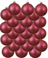 24x fuchsia roze glazen kerstballen 6 cm mat trend