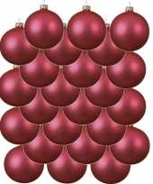 24x fuchsia roze glazen kerstballen 8 cm mat trend