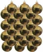 24x gouden glazen kerstballen 6 cm glans trend