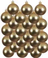 24x gouden glazen kerstballen 6 cm mat trend