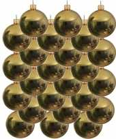 24x gouden glazen kerstballen 8 cm glans trend