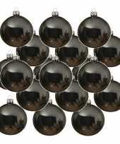 24x grijsblauwe glazen kerstballen 6 cm glans trend