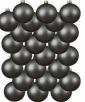 24x grijsblauwe glazen kerstballen 6 cm mat trend