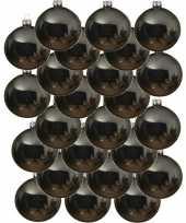 24x grijsblauwe glazen kerstballen 8 cm glans trend
