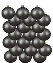 24x grijsblauwe glazen kerstballen 8 cm mat trend