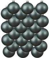 24x ijsblauwe glazen kerstballen 6 cm mat trend