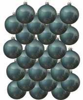 24x ijsblauwe glazen kerstballen 8 cm glans trend