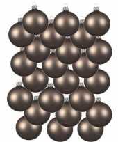 24x kasjmier bruine glazen kerstballen 6 cm mat trend