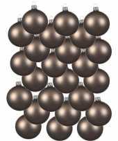 24x kasjmier bruine glazen kerstballen 8 cm mat trend