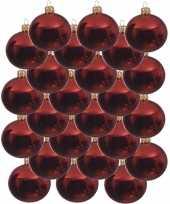 24x kerst rode glazen kerstballen 8 cm glans trend