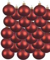 24x kerst rode glazen kerstballen 8 cm mat trend