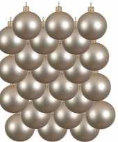 24x licht parel champagne glazen kerstballen 6 cm mat trend