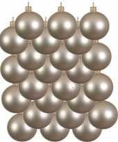24x licht parel champagne glazen kerstballen 8 cm mat trend