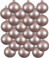 24x lichtroze glazen kerstballen 6 cm mat trend