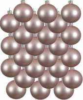 24x lichtroze glazen kerstballen 8 cm mat trend