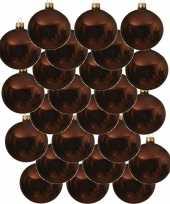 24x mahonie bruine glazen kerstballen 6 cm glans trend