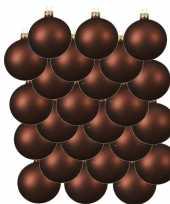 24x mahonie bruine glazen kerstballen 6 cm mat trend