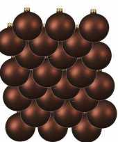 24x mahonie bruine glazen kerstballen 8 cm mat trend