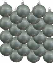 24x mintgroene glazen kerstballen 6 cm glans trend