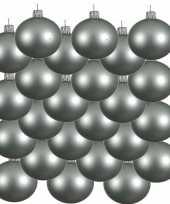 24x mintgroene glazen kerstballen 8 cm mat trend