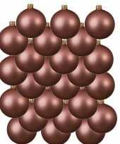 24x oud roze glazen kerstballen 8 cm mat trend