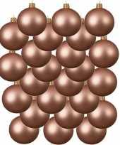 24x roze glazen kerstballen 6 cm mat trend