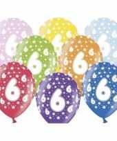 24x stuks verjaardag ballonnen 6 jaar met sterretjes 30 cm trend