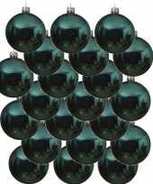 24x turquoise blauwe glazen kerstballen 6 cm glans trend