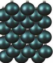 24x turquoise blauwe glazen kerstballen 6 cm mat trend