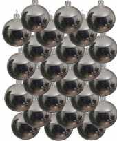 24x zilveren glazen kerstballen 8 cm glans trend
